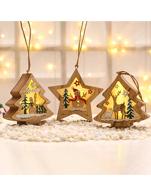Fashion Five-star Snowman Luminous Wooden Christmas Tree Elk Scene Pendant With Battery