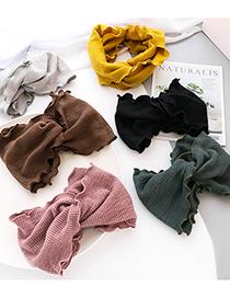 Fashion Dark Green Stripes Striped Knit Solid Color Crossed Wide-brimmed Headband