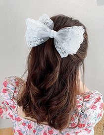 Fashion White Butterfly Hairpin Lace Bow Knot Net Yarn Flower Alloy Hairpin