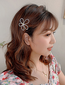 Fashion Flower Rhinestone Hair Clip Alloy Hollow Hairpin With Diamonds And Flowers