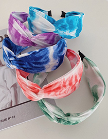 Fashion Pink Cross-knotted Ink Tie-dye Broad-brim Hairband In The Middle