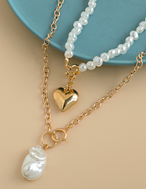 Fashion Golden Alloy Chain Geometric Pearl Love Double Necklace