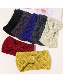 Fashion Sapphire Corn Thread Knitted Bowknot Woolen Wide Elastic Headband