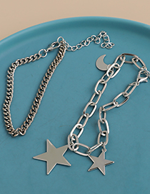 Fashion Silver Alloy Chain Moon Five-pointed Star Double-layer Bracelet