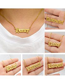 Fashion Princess-gold Letter Stainless Steel Hollow Necklace