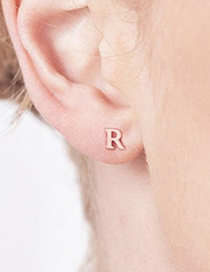 Fashion Steel Color A Stainless Steel Small Letter Hollow Earrings