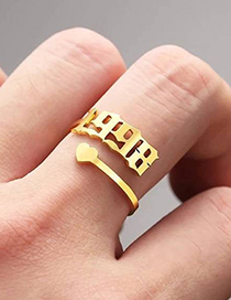 Fashion 1985 Gold Color Love Heart Stainless Steel Digital Hollow Open Ring