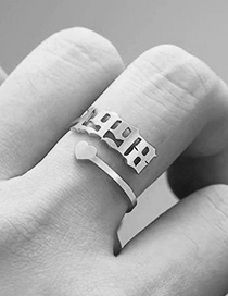 Fashion 1985 Steel Color Love Heart Stainless Steel Digital Hollow Open Ring