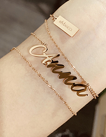 Fashion Gold Color Ab-kaylee Letter Pendant Stainless Steel Hollow Necklace