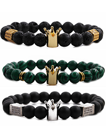 Fashion Frosted Stone Gold Color White Zirconium Cuboid Crown Frosted Malachite Volcanic Stone Crown Beaded Bracelet With Diamonds
