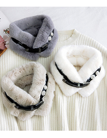 Fashion Plush Powder Thickened Belt Buckle Diamond Plush Solid Color Scarf