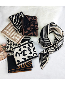 Fashion Thin Frame Leopard Houndstooth Zebra Pattern Socket Knitted Wool Scarf