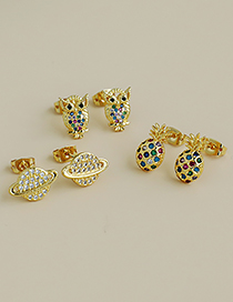 Fashion Gold Color Owl Copper Inlaid Zircon Owl Earrings