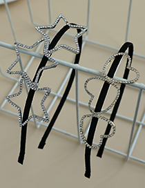 Fashion Five-pointed Star Alloy Diamond Five-pointed Star Love Hollow Headband