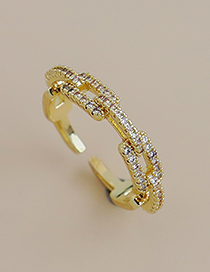 Fashion Gold Color Copper Inlaid Zircon Opening Ring