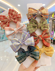 Fashion Purple Check Bow [3 Piece Set] Bowknot Lattice Childrens Hairpin Hair Rope