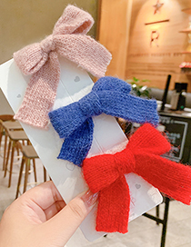 Fashion Pink Bow Hairpin Childrens Hairpin With Knitted Wool Bow