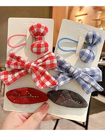 Fashion Burgundy Bow [3-piece Set] Bowknot Lattice Leaf Childrens Hairpin Hair Rope
