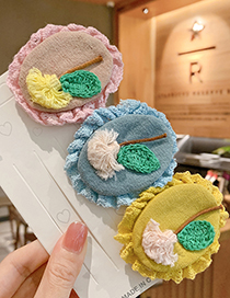 Fashion Pink Knitted Flower Geometric Shape Childrens Hairpin