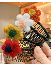 Fashion Burgundy Flower Insert Comb Knitted Wool Flower And Fruit Comb For Children