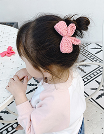 Fashion Blue Bow Childrens Hairpin With Woolen Bow