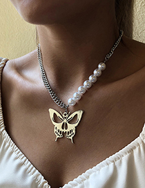 Fashion White K Alloy Pearl Butterfly Necklace