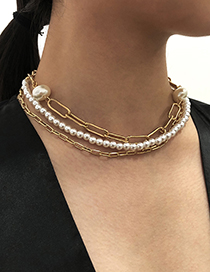 Fashion Gold Color Multilayer Alloy Pearl Chain Necklace