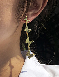 Fashion Gold Color Alloy Butterfly Long Earrings