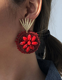 Fashion Red Alloy Braided Flower Earrings