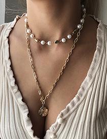 Fashion Gold Color Alloy Double Head Pearl Pendant Necklace