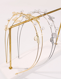 Fashion Gold Color Alloy Pearl Butterfly Headband