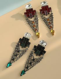 Fashion Green Alloy Diamond Geometric Earrings