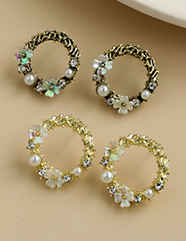 Fashion Gold Coloren Alloy Pearl Flower Hollow Round Earrings