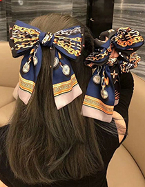 Fashion Coffee Color-hair Tie Double Stitching Printed Fabric Wide Border Bow Hair Band Hair Rope Hairpin