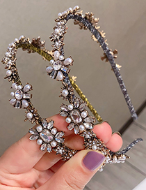 Fashion Silver Color Color Headband Pearl And Diamond Flower Hair Band