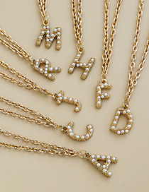 Fashion A Alloy Pearl Letter Necklace