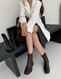 Fashion Black Chunky Heel Square Toe Side Zip Martin Boots