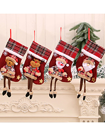 Fashion Bear Christmas Doll Doll Three-dimensional Linen Long-leg Christmas Socks