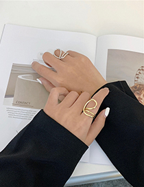 Fashion Gold Color Geometric Multilayer Winding Alloy Hollow Ring