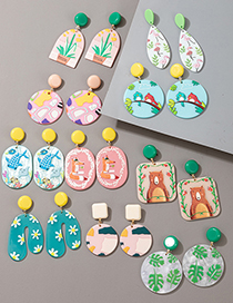 Fashion Leaves Acrylic Printed Potted Seaweed Bear And Fox Resin Earrings