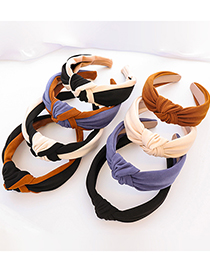 Fashion Blue+coffee Stitching Contrast Color Fabric Knotted Wide-sided Headband