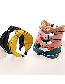 Fashion Black Metal Chain Pure Color Fabric Metal Chain Knotted Headband