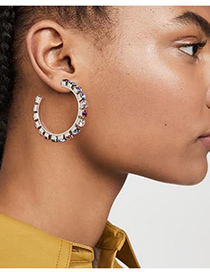 Fashion No. 6 Color Claw Chain Alloy Diamond Earrings