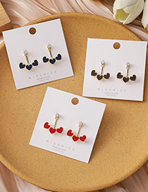 Fashion Red Love Curved Alloy Diamond Earrings