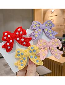 Fashion Blue Knitted Bow Polka Dot Children Hairpin