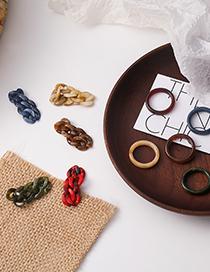 Fashion Red Chain Resin Geometric Ring Set