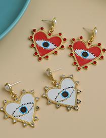 Red Alloy Diamond Love Eye Stud Earrings