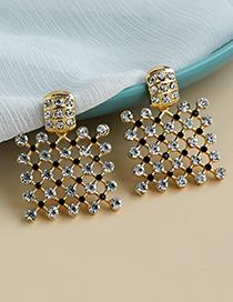 Golden Alloy Diamond Hollow Square Earrings