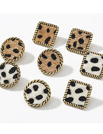 Fashion Square White Square Round Lace Alloy Leopard Flannel Flocking Earrings