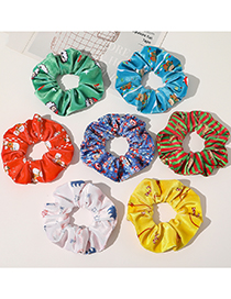 Fashion Arctic Velvet-khaki Christmas Printed Flannel Large Intestine Ring Hair Rope